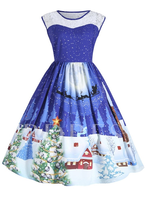 Sleeveless Patchwork Christmas Pattern Women's Day Dress