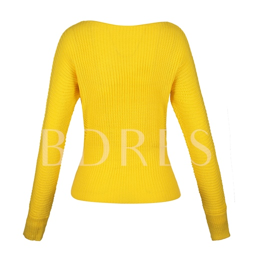 Slim Plain Thick Lace-Up Vacation Women's Sweater
