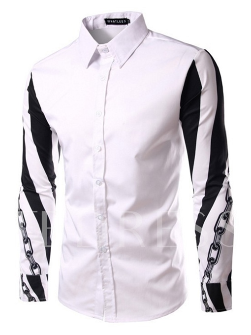 Lapel Sleeve Printed Slim Fit Plain Men's Casual Shirt