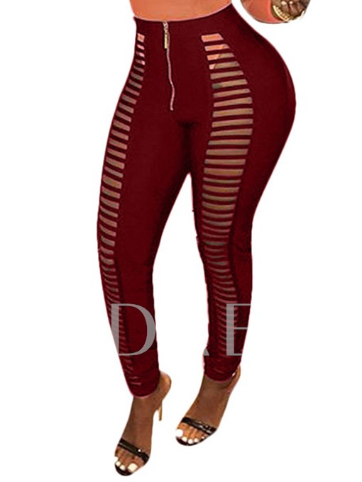 Slim Hollow Zipper Women's Leggings
