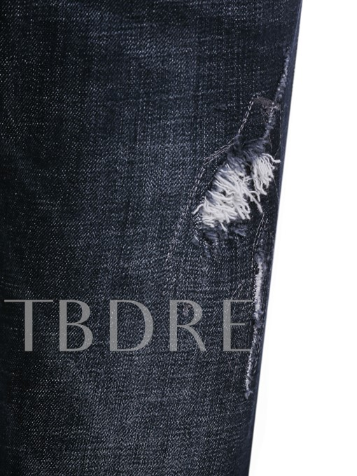 Mid Waist Chain Hole Slim Men's Jeans