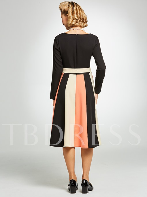 Color Block Long Sleeve Knot Women's Day Dress