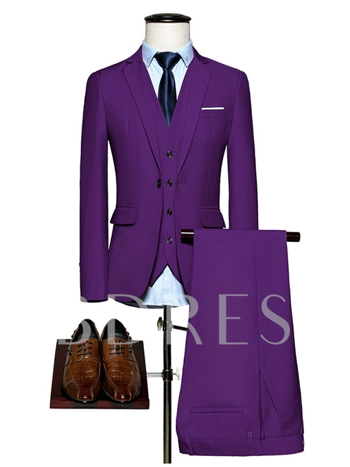 Notched Collar Solid Color Slim Fit Casual Men's Dress Suit