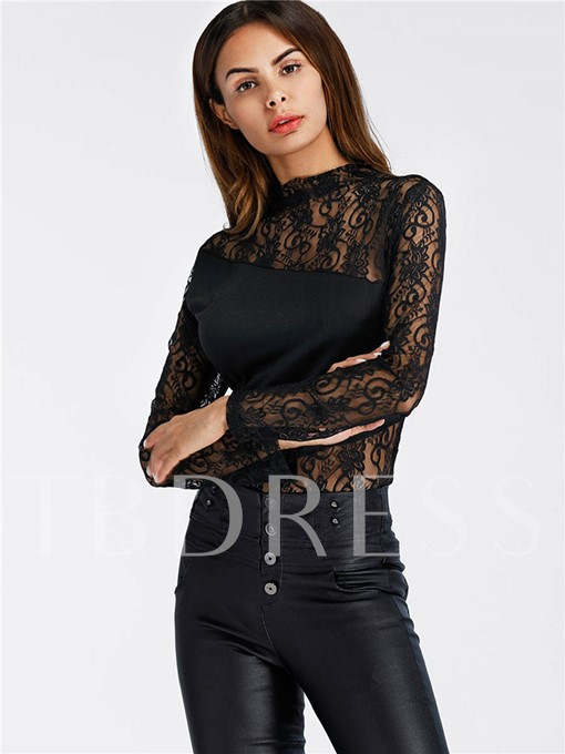 Perspective Lace Patchwork Women's Bodysuit