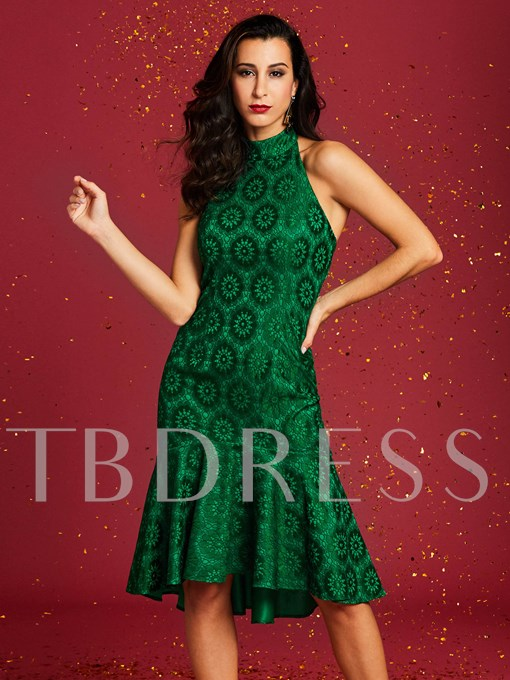 Green Halter Fishtail Women's Bodycon Dress