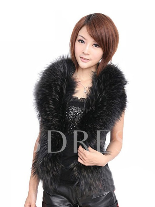 I Type Standard Women's Imitation Fur Collar PU Vest
