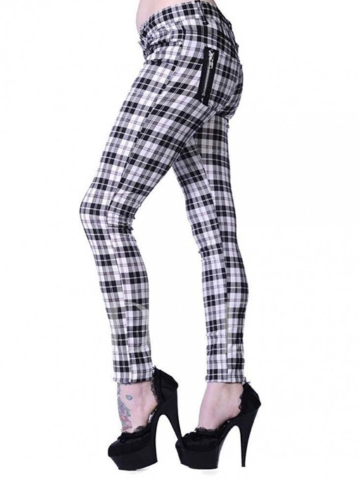 Plain Plaid Print Zipper Women's Casual Pants