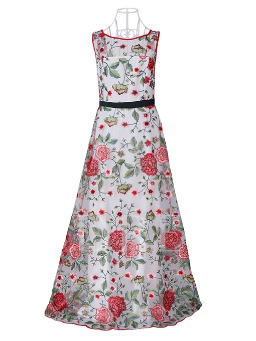 Embroidery Backless Women's Maxi Dress