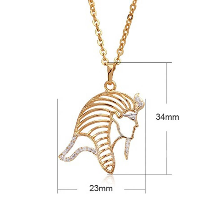Middle East Head Design Hollow Out Overgild Religion Necklace