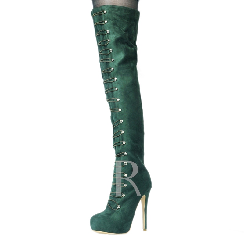 Slip On Green Platform Thigh High Boots