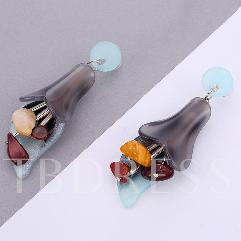 Flower Shaped Hyperbole Acrylic Earrings