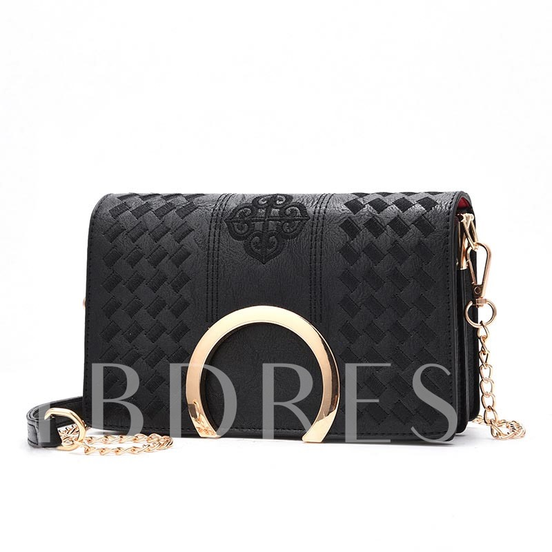 Concise Candy Color Embossing Women Shoulder Bag