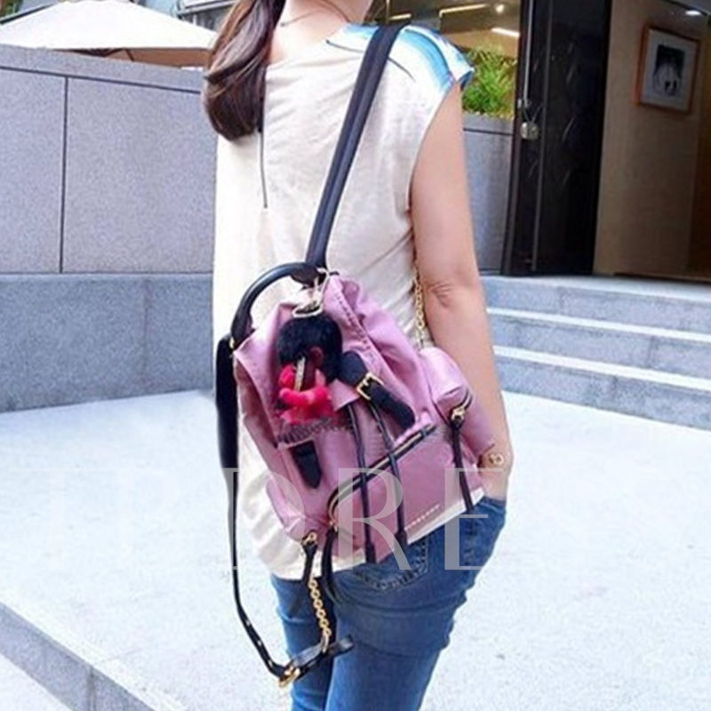 Korean Style Solid Color Canvas Backpack