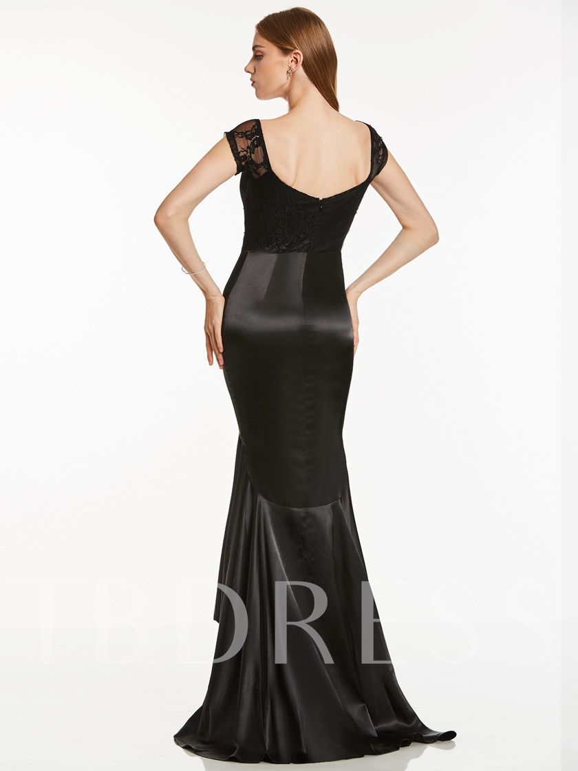 V Neck Cap Sleeves Mermaid Evening Dress
