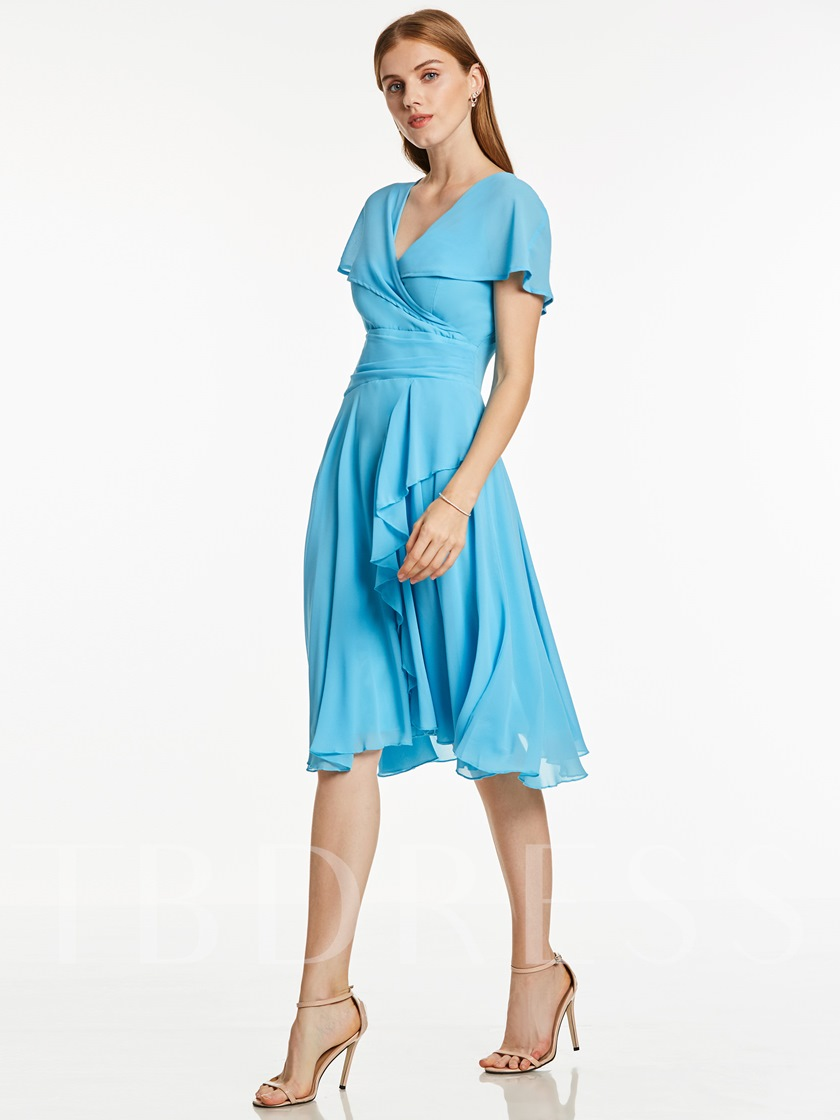 V Neck Short Sleeves A Line Cocktail Dress