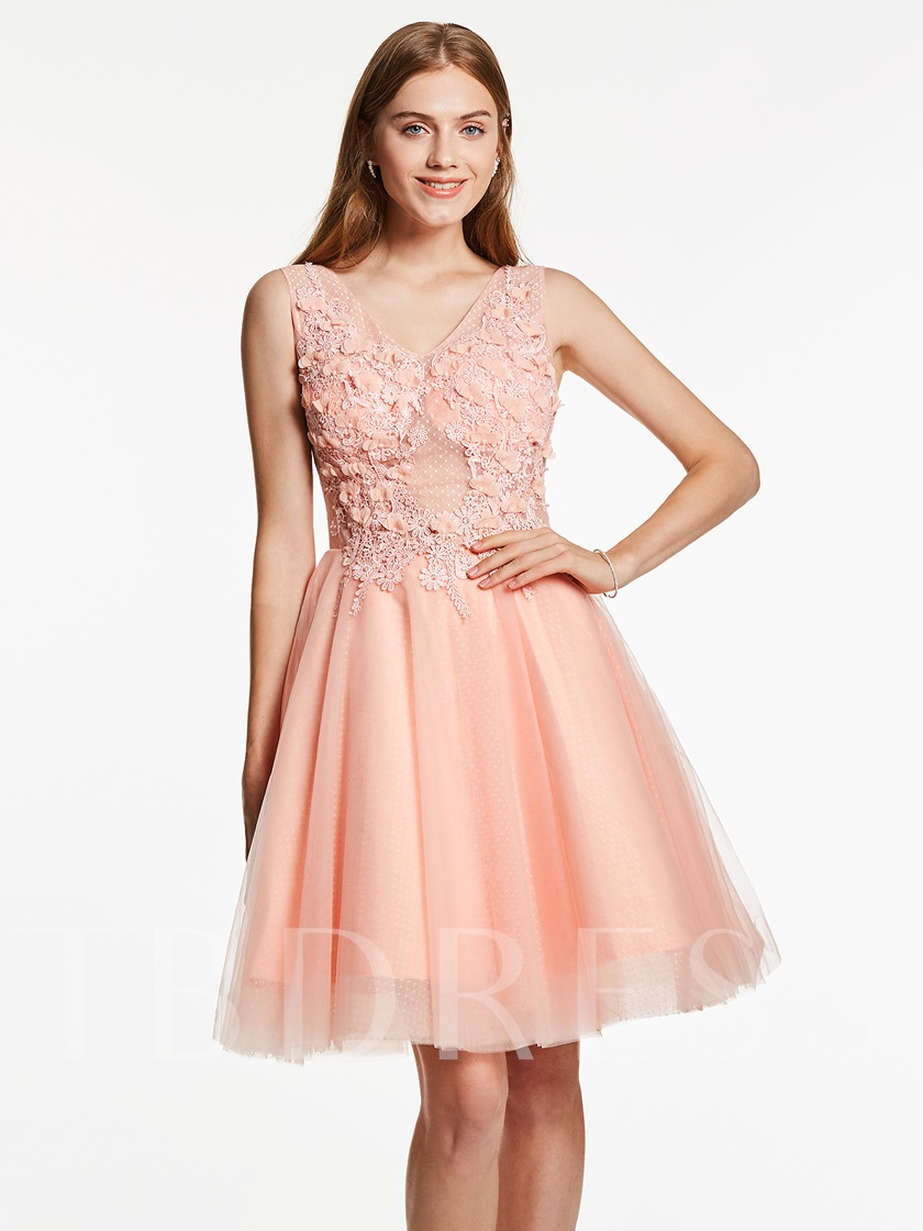 A-Line V-Neck Appliques Beaded Flowers Short Homecoming Dress