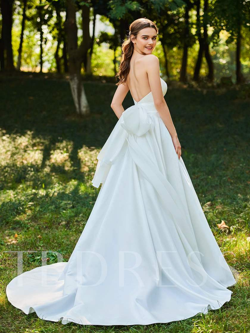 A-Line Bowknot Strapless Wedding Dress