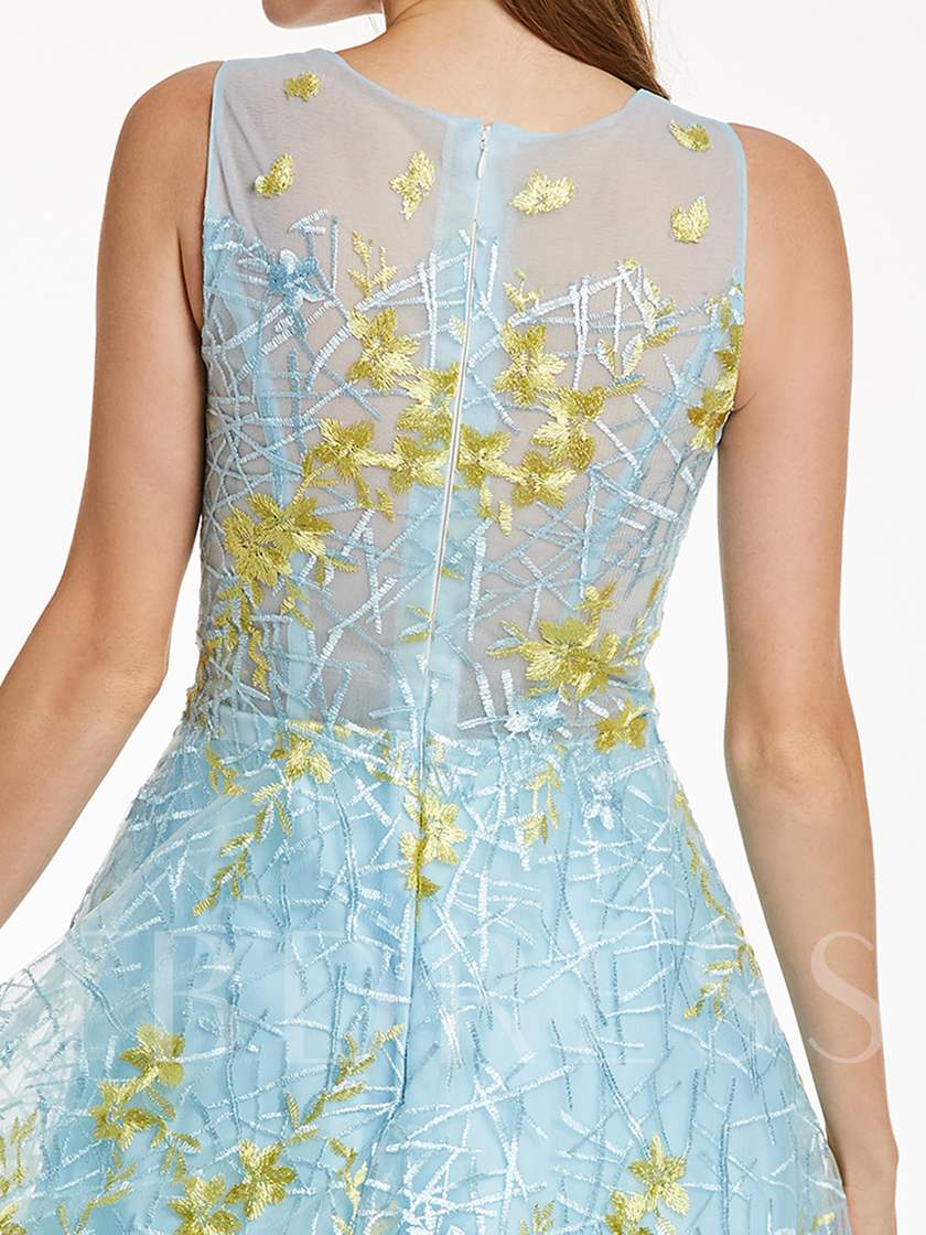 Scoop Neck Zipper-Up Appliques A Line prom dress