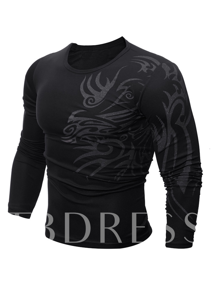 Round Collar Dragon Print Slim Fit Men's T-Shirt