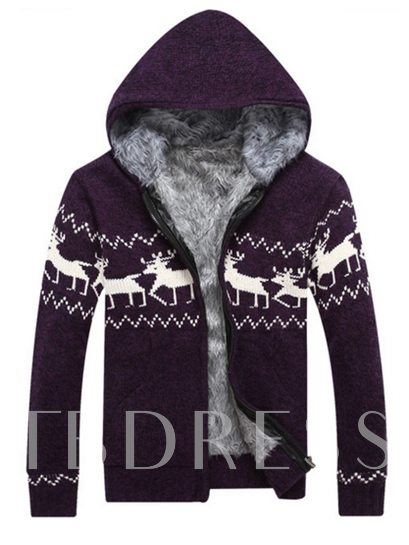 Hooded Christmas Print Cardigan Men's Sweater