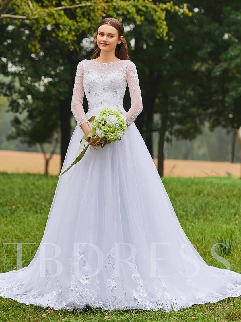 Beaded Appliques Long Sleeves Wedding Dress