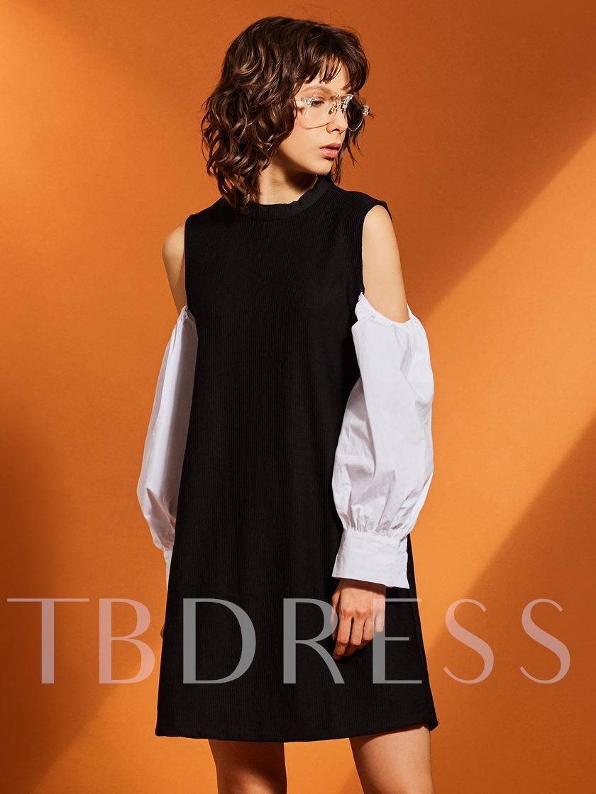 Color Block Lantern Sleeve Women's A-Line Dress