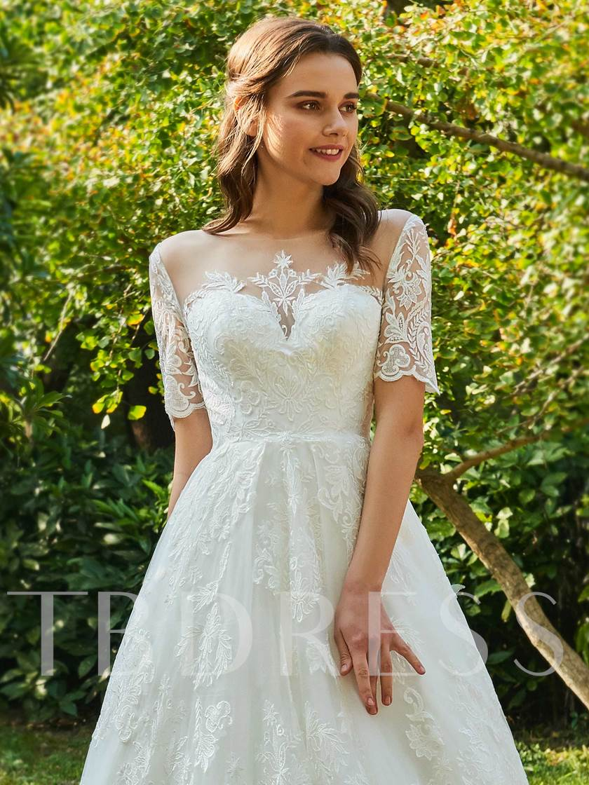Sheer Back Short Sleeves Appliques Wedding Dress