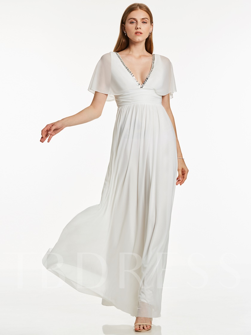 V Neck Beaded A Line Long Evening Dress
