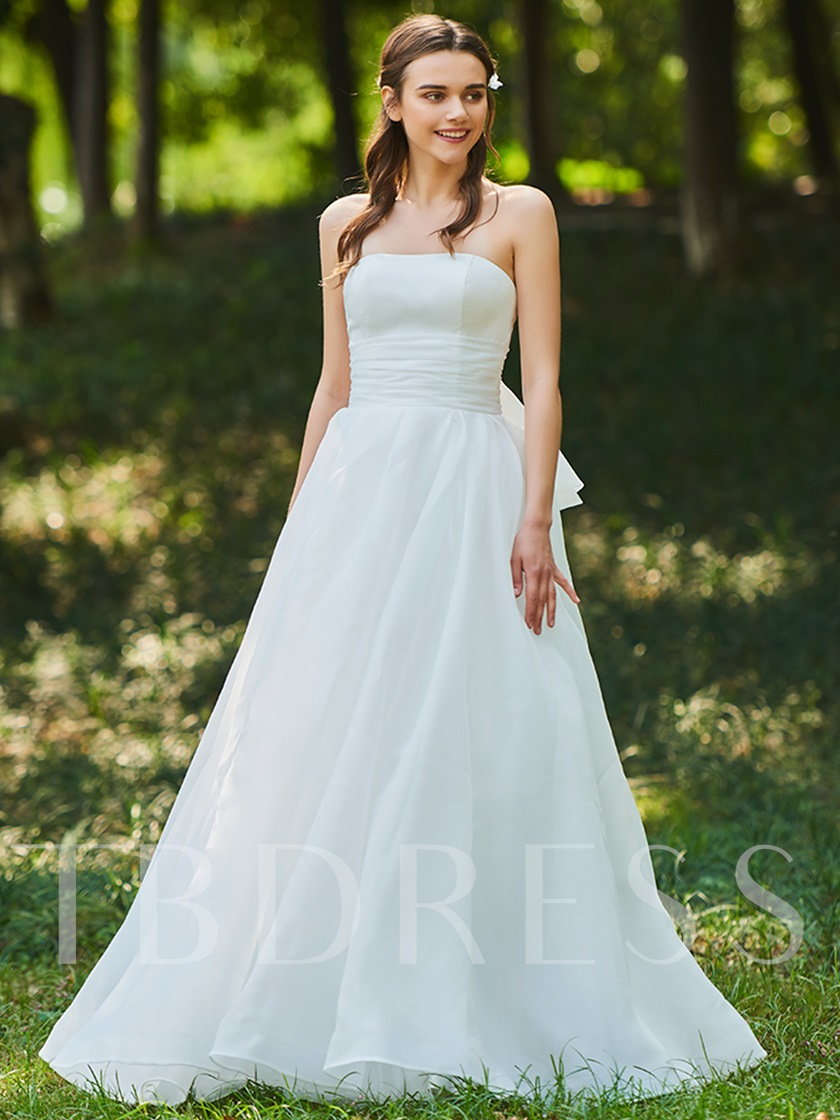 A-Line Ruffles Strapless Beach Wedding Dress