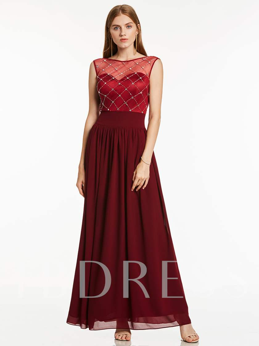 Bateau Neck Beading A Line Evening Dress