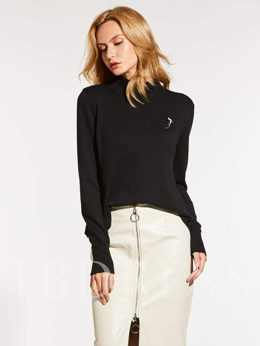 Plain Slim Fit Warm Women's Sweater(Without Brooch)
