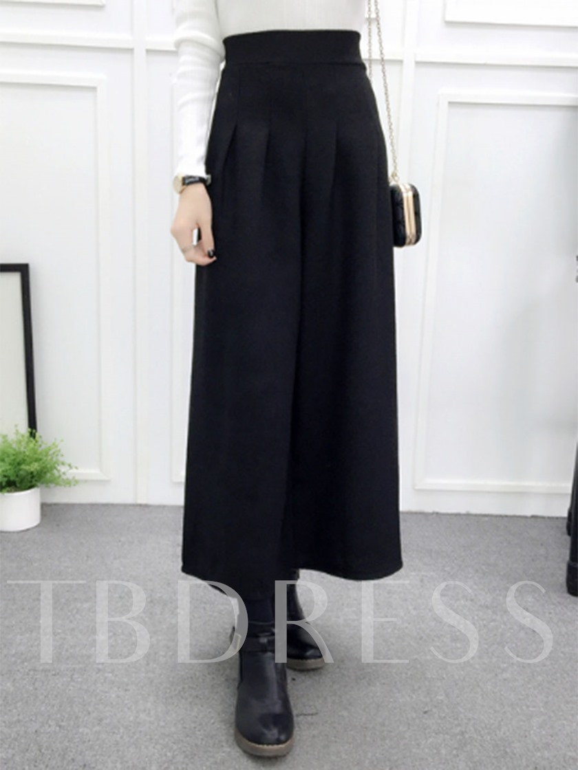 Wide Legs Pleated Ankle-Length Women's Pants