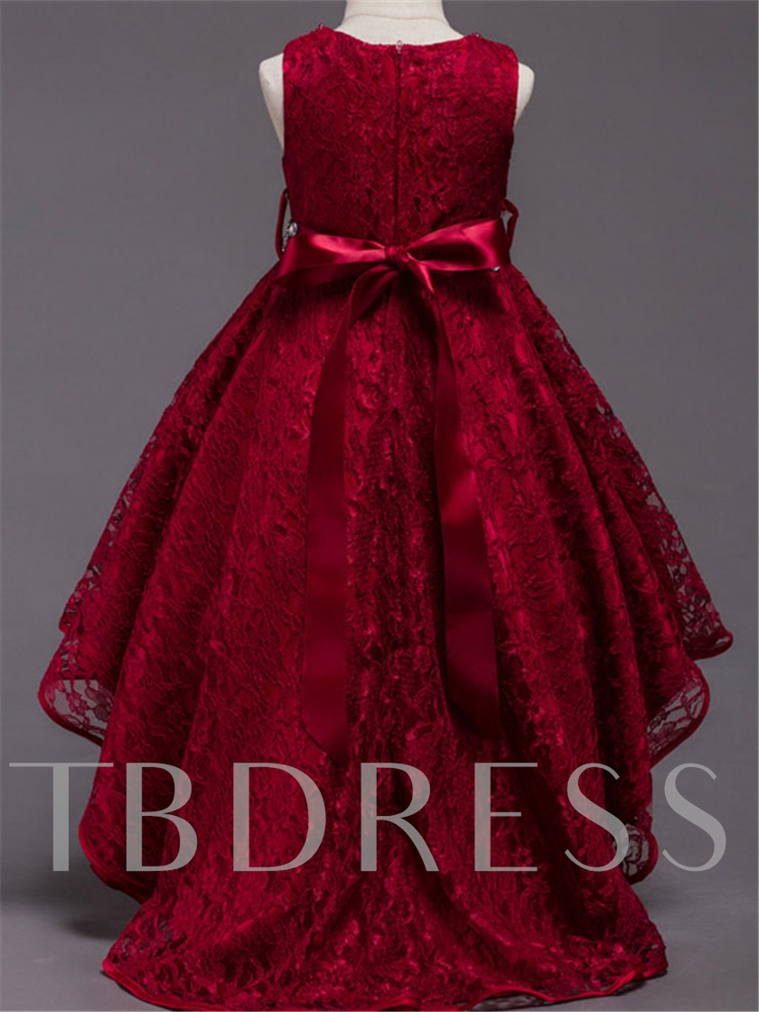 Bowknot Beading Ball Gown Lace Flower Girl Dress