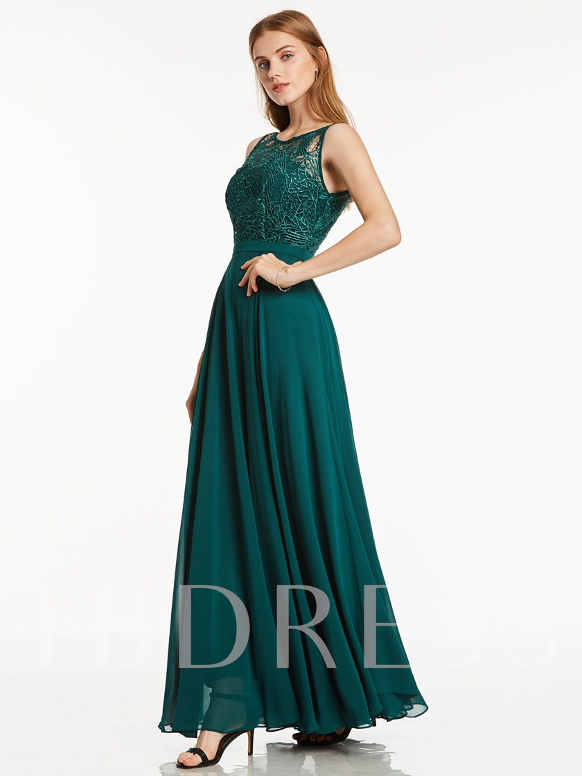 Floor-Length Scoop Neckline Lace Chiffon Evening Dress