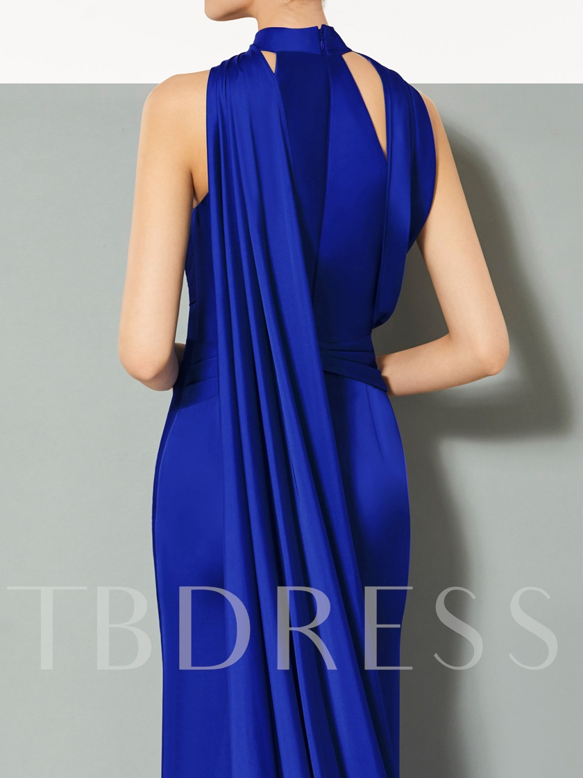 A-Line Split-Front High Neck Court Train Evening Dress