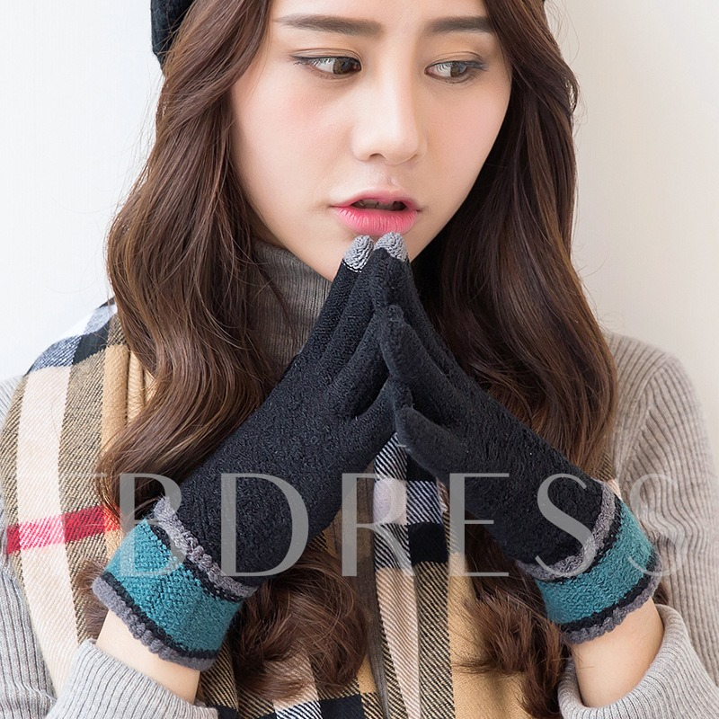 Knitted Touch Screen Thicken Warmth Gloves