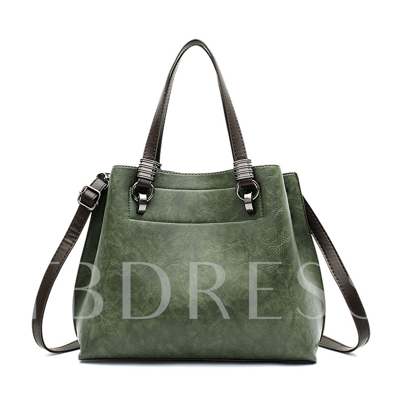 Well Match Solid Color Zipper PU Tote