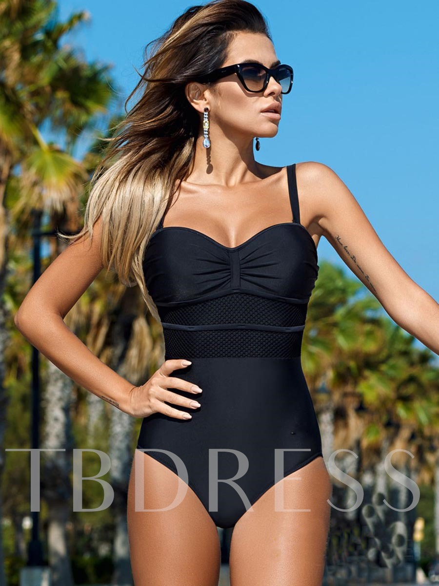 Color Block Pleated Patchwork One-Piece Swimsuit