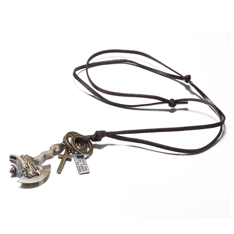 Bronze Plated Cowhide Rope Alloy Vintage Men's Necklace