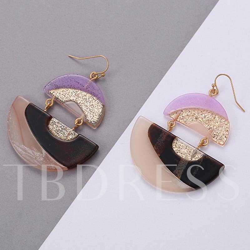Semicircle Alloy Patchwork Acrylic Earrings