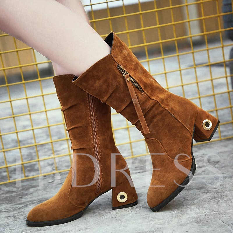 Suede Zipper Hollow Heel Women's Half Boots