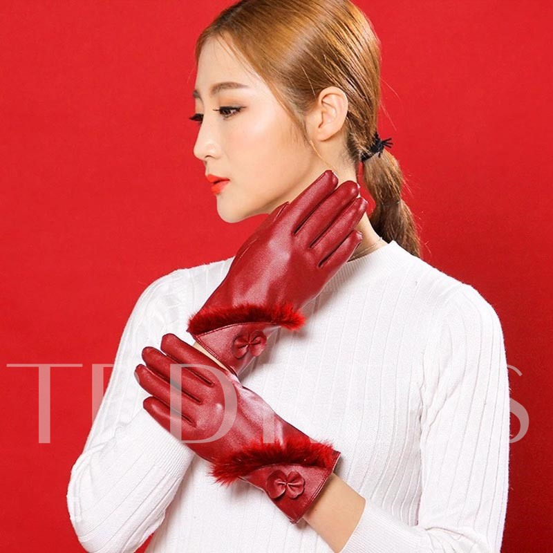 Bowknot PU Plain Color Warmth Touch Screen Gloves