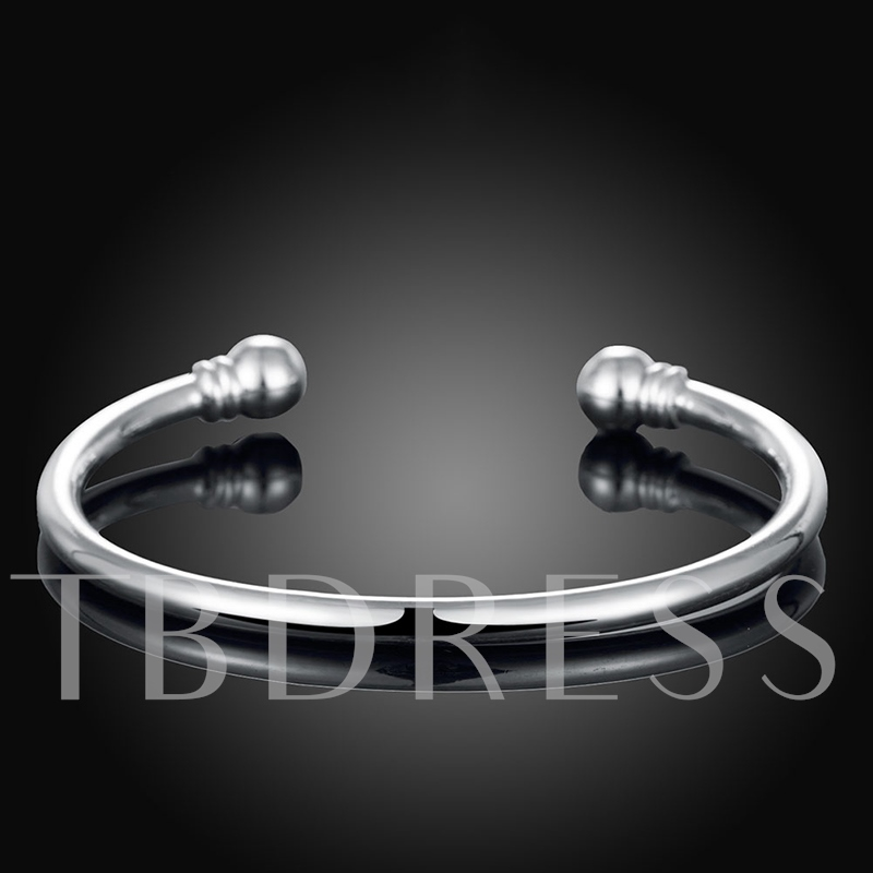 Opening Round Silver Plated Simple Men's Bracelet