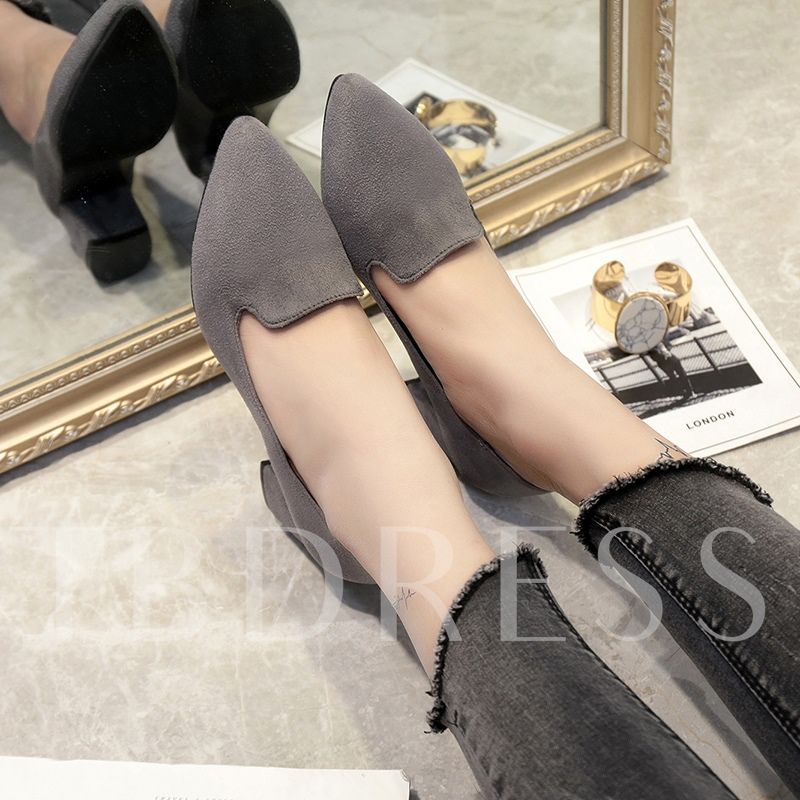 Pointed Toe Thick Heel Solid Pumps