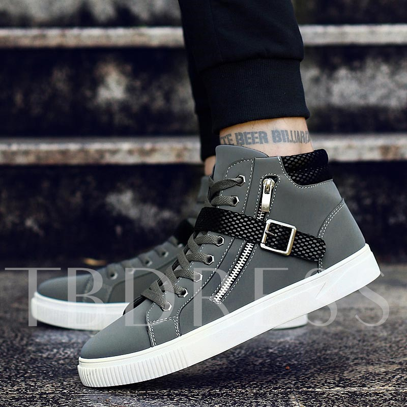 Buckle Lace Up Zipper Nubuck Leather Men's High Top