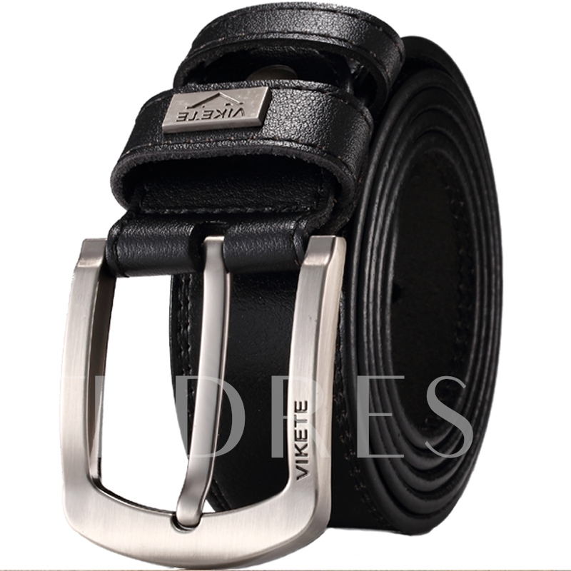Korean Alloy Pin Buckle Solid Artificial Leather Men's Belts