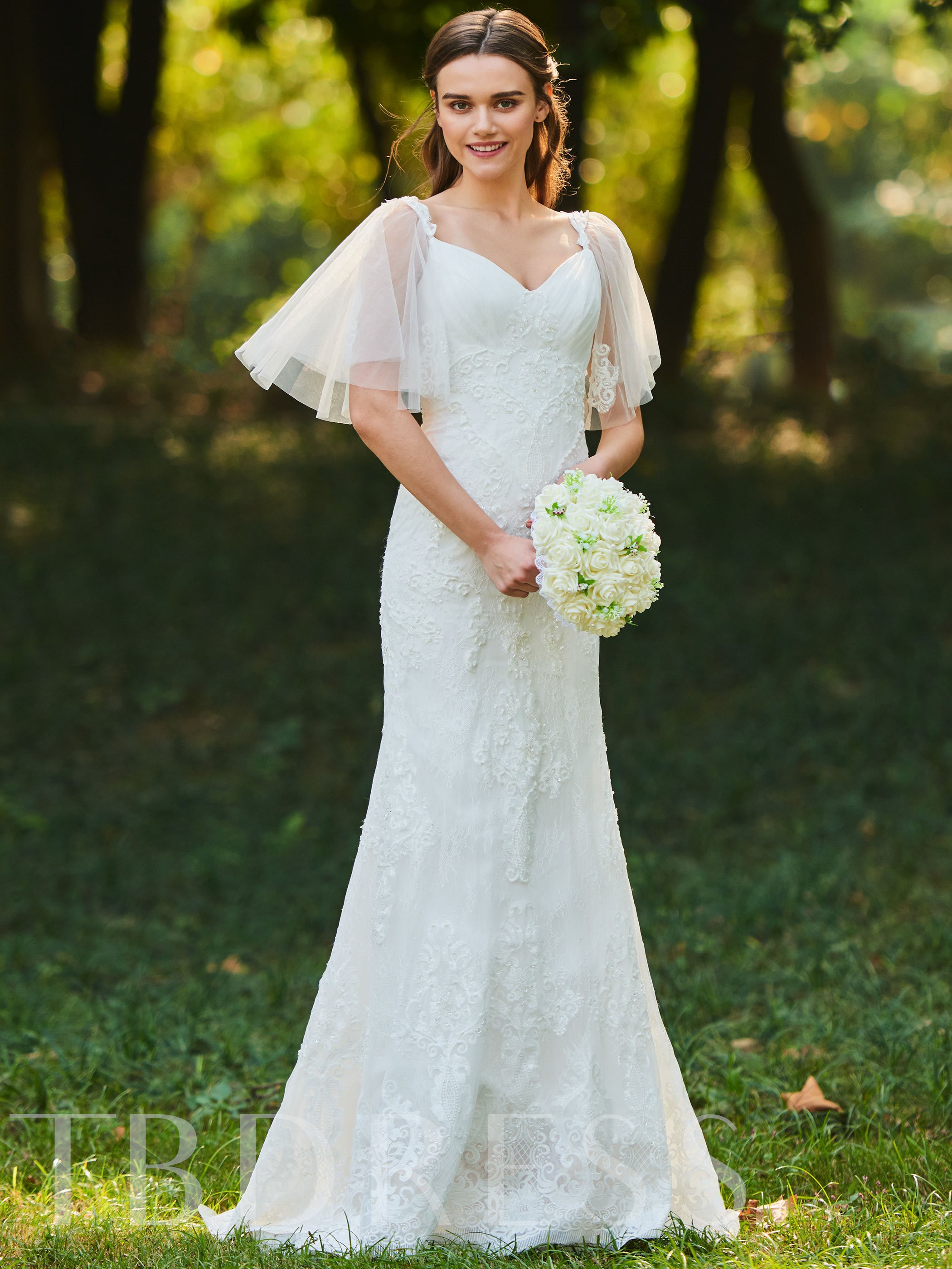 Image of Beaded Sleeves Lace Trumpet Wedding Dress