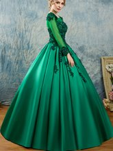 Appliques Beaded Long Sleeves Scoop Quinceanera Dress
