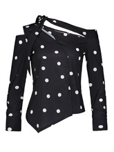 Oblique Collar Lace-Up Polka Dots Sexy Women's Blouse