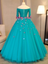 Flowers Off-the-Shoulder Long Sleeves Quinceanera Dress